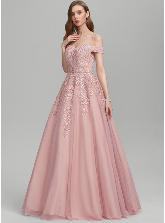 Ball-Gown/Princess Off-the-Shoulder Floor-Length Tulle Evening Dress With Beading