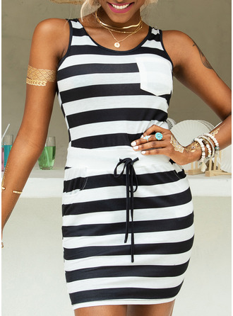 Above Knee Round Neck Polyester/Cotton Print Sleeveless Fashion Dresses