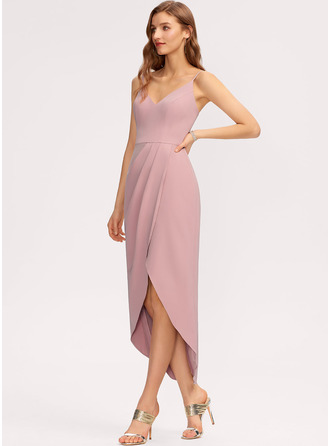 Sheath/Column V-neck Asymmetrical Stretch Crepe Bridesmaid Dress