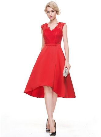 A-Line/Princess V-neck Asymmetrical Satin Homecoming Dress