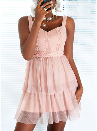 Solid A-line Sleeveless Mini Elegant Skater Dresses