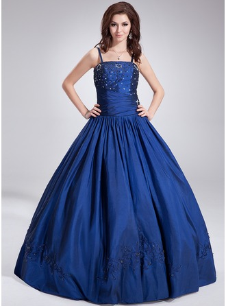 Ball-Gown Floor-Length Taffeta Quinceanera Dress With Beading Sequins