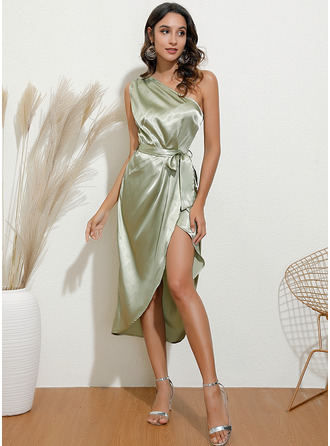 Midi One Shoulder Polyester Solid Sleeveless Fashion Dresses