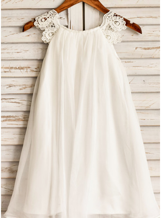 A-Line Scoop Neck Tea-length Chiffon Sleeveless Flower Girl Dress