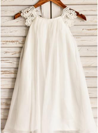 A-Line/Princess Tea-length Flower Girl Dress - Chiffon Sleeveless Scoop Neck With Lace
