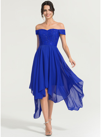 A-Line/Princess Off-the-Shoulder Asymmetrical Chiffon Cocktail Dress With Beading