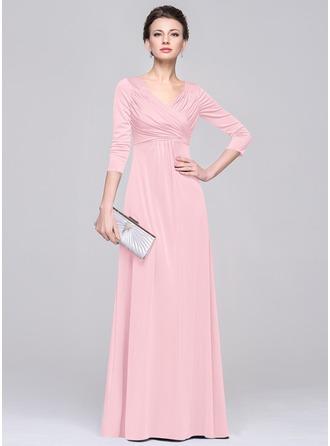 С завышенной талией V-образный Длина до пола Jersey Платье Для Матери Невесты с Рябь