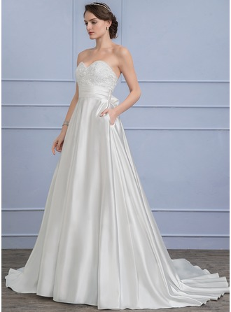 A-Line/Princess Sweetheart Sweep Train Satin Lace Wedding Dress With Ruffle Bow(s)
