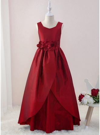 Robe Marquise/Princesse Longueur ras du sol Robes à Fleurs pour Filles - Taffeta Sans manches Col V avec Fleur(s)
