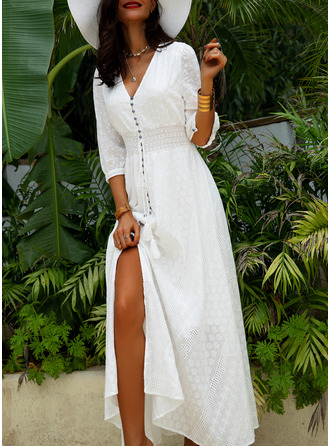 Lace Print A-line 1/2 Sleeves Maxi Casual Vacation Skater Dresses