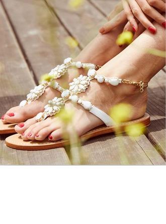 Женщины кожа Плоский каблук Сандалии Beach Wedding Shoes с Имитация Перл горный хрусталь