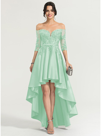A-Line Off-the-Shoulder Asymmetrical Satin Homecoming Dress