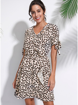 Print A-line Short Sleeves Mini Casual Wrap Dresses