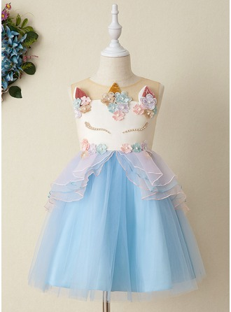 Ball-Gown/Princess Knee-length Flower Girl Dress - Tulle/Lace Sleeveless Scoop Neck With Lace/Appliques