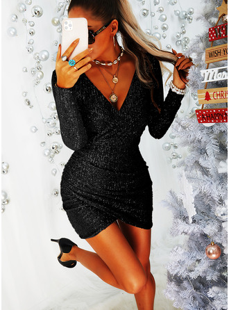 Sequins Bodycon Long Sleeves Mini Little Black Party Dresses