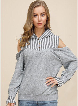 Striped Cold Shoulder Long Sleeves Button Up Casual