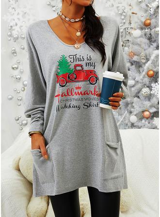 Print Figure V-Neck Long Sleeves Christmas Sweatshirt
