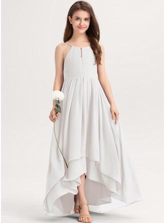 A-Linie U-Ausschnitt Asymmetrisch Chiffon Kleider für junge Brautjungfern mit Rüschen Schleife(n)