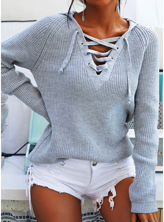 Hooded Casual Ribbed Sweaters
