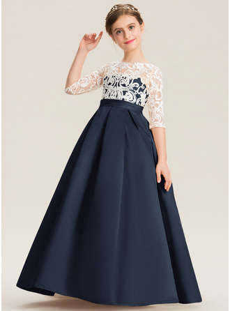 Balo Elbisesi/Prenses Yuvarlak Yaka Uzun Etekli Saten Dantel Küçük Nedime Elbisesi