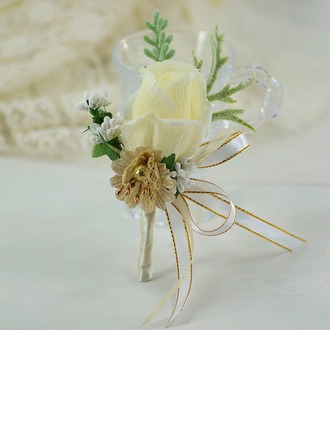 Hand-tied Satin/Silk Flower Boutonniere (Sold in a single piece) -