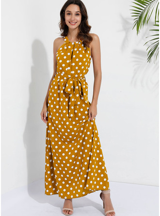 Às bolinhas Vestido linha-A Sem mangas Maxi Casual Skatista Vestidos na Moda