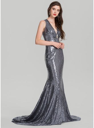 Trumpet/Mermaid V-neck Sweep Train Sequined Prom Dress With Beading