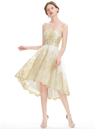 A-Line/Princess Sweetheart Asymmetrical Tulle Lace Homecoming Dress