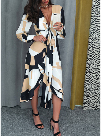 Geometric Print A-line Long Sleeves Midi Elegant Dresses
