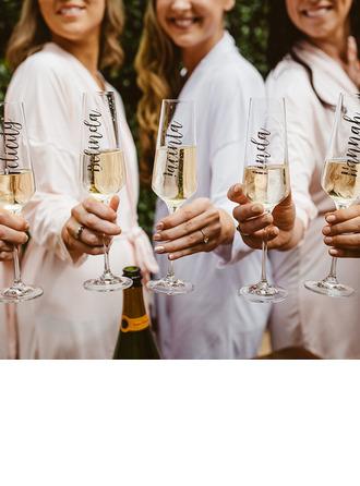 - Personaliseret Iøjnefaldende Mærkat Glas Champagne Fløjte