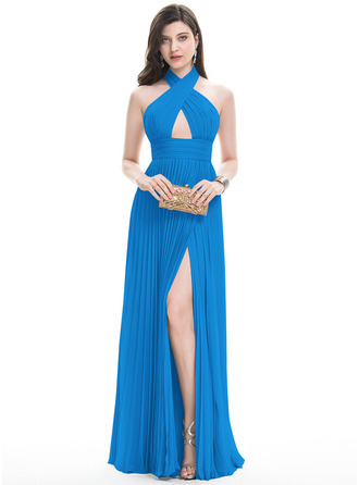 A-Line/Princess Halter Floor-Length Chiffon Evening Dress With Split Front Pleated