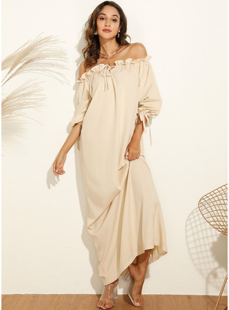 Solid Shift Long Sleeves Maxi Casual Vacation Dresses