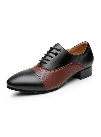 De los hombres Piel Planos Sala de Baile con Cordones Zapatos de danza