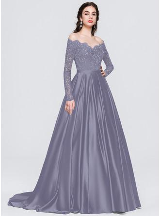 Robe Marquise/Princess Hors-la-épaule Balayage/Pinceau train Satiné Robe bal d'étudiant avec Brodé