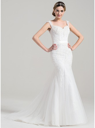 Trumpet/Mermaid Sweetheart Sweep Train Tulle Lace Wedding Dress With Beading Sequins