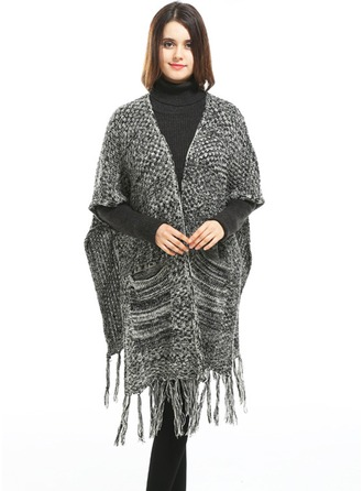 Tassel Oversized/Cold weather Artificial Wool Poncho