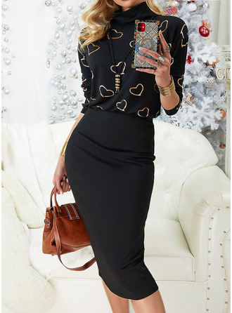 Print Bodycon Long Sleeves Midi Casual Dresses