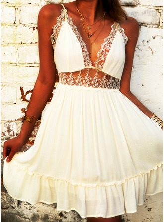 Lace Solid A-line Sleeveless Mini Party Sexy Skater Type Dresses