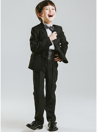 Boys 5 Pieces Solid Ring Bearer Suits /Page Boy Suits With Jacket Shirt Pants Bow Tie Cummerbund