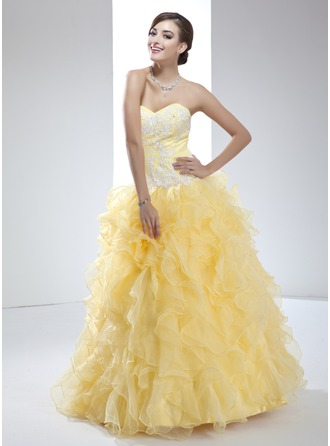 Ball-Gown Sweetheart Floor-Length Organza Quinceanera Dress With Appliques Lace Cascading Ruffles