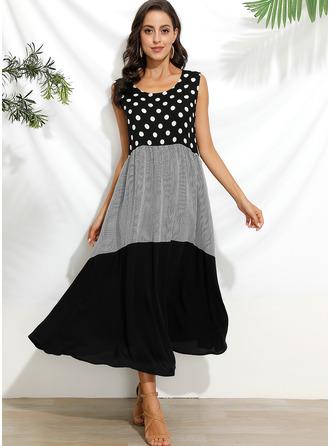PolkaDot Print Shift Sleeveless Maxi Casual Vacation Tank Dresses