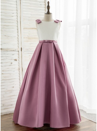 A-Line Sweep Train Flower Girl Dress - Satin Sleeveless Scoop Neck