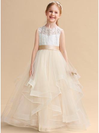 Ball-Gown/Princess Floor-length Flower Girl Dress - Tulle/Lace Sleeveless Scoop Neck