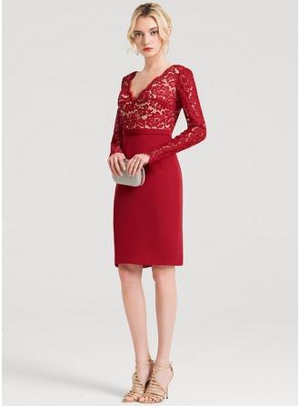 Sheath/Column V-neck Knee-Length Satin Cocktail Dress