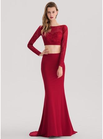 Trumpet/Mermaid Scoop Neck Sweep Train Jersey Prom Dress