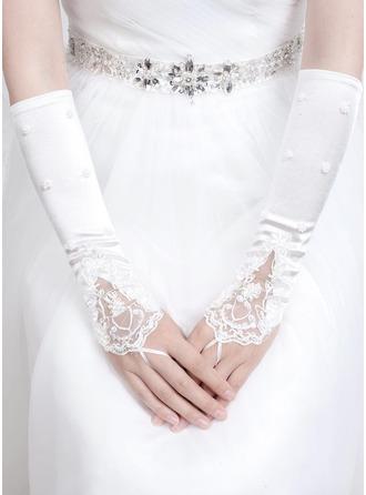 Satin Elbow Længde Brude Handsker