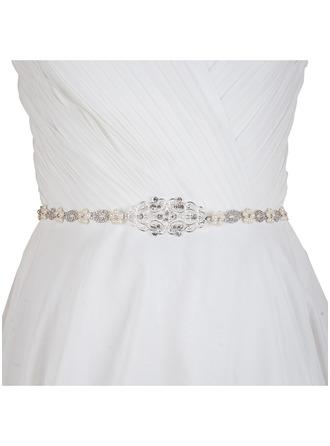 Elegant Satin/Legierung Schleifenbänder/Stoffgürtel mit Strasssteine/Faux-Perlen