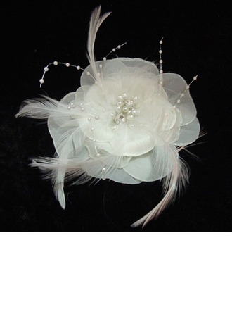 Glamourous Imitation Pearls/Feather/Chiffon Flowers & Feathers With Pearl