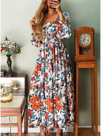 Kwiatowy Nadruk Sukienka Trapezowa Długie rękawy Maxi Elegancki Łyżwiaż Modne Suknie