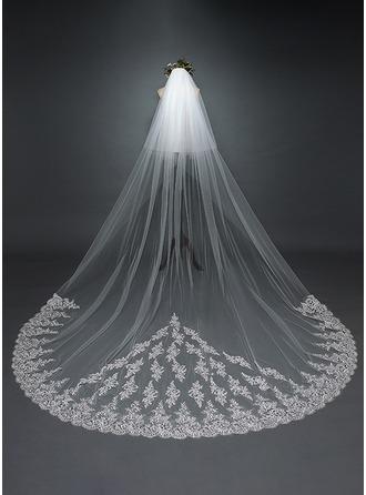 Duas camada Borda com aplicação de renda Catedral véus de noivas com Aplicação/Renda